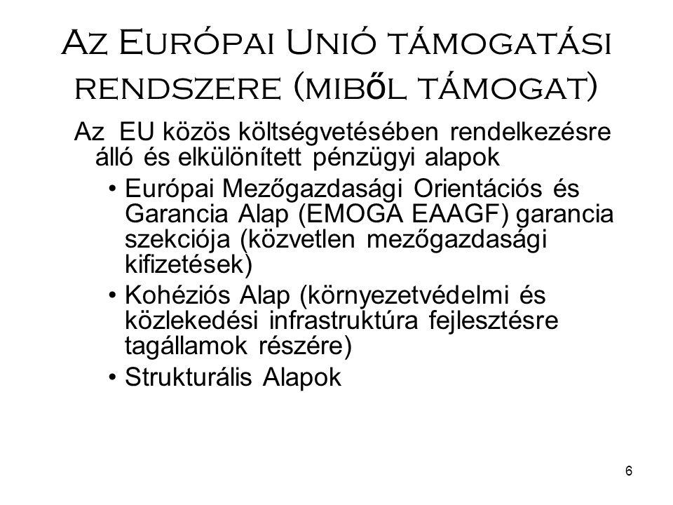 6 Az Európai Unió támogatási rendszere (mib ő l támogat) Az EU közös költségvetésében rendelkezésre álló és elkülönített pénzügyi alapok Európai Mezőgazdasági Orientációs és Garancia Alap (EMOGA EAAGF) garancia szekciója (közvetlen mezőgazdasági kifizetések) Kohéziós Alap (környezetvédelmi és közlekedési infrastruktúra fejlesztésre tagállamok részére) Strukturális Alapok