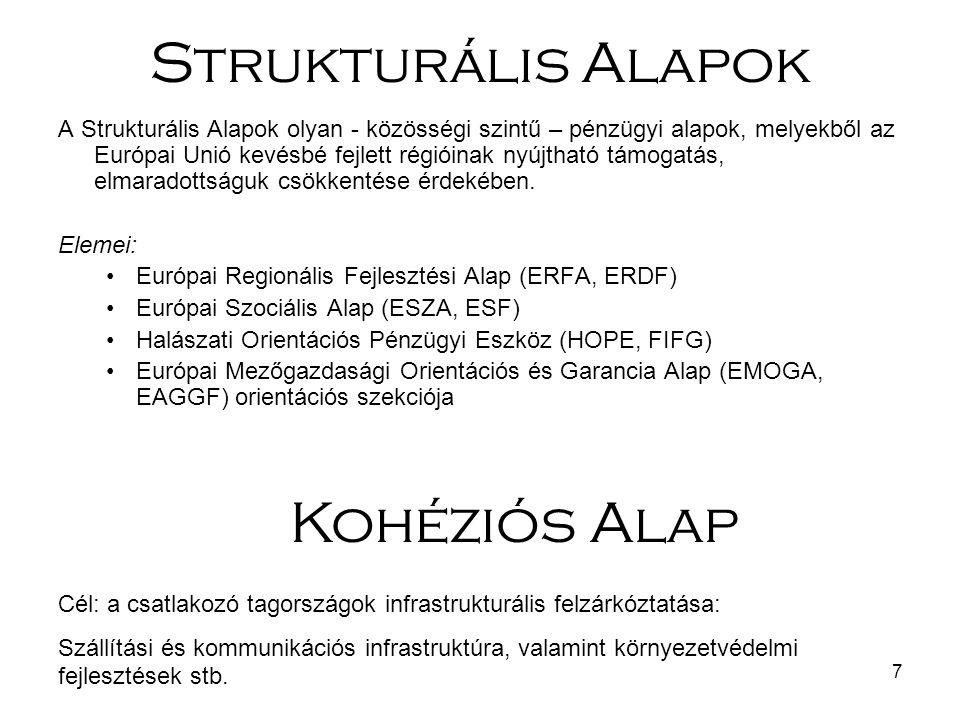 7 A Strukturális Alapok olyan - közösségi szintű – pénzügyi alapok, melyekből az Európai Unió kevésbé fejlett régióinak nyújtható támogatás, elmaradot