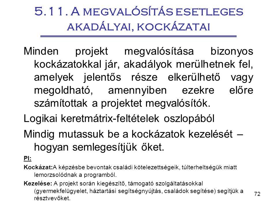 72 5.11. A megvalósítás esetleges akadályai, kockázatai Minden projekt megvalósítása bizonyos kockázatokkal jár, akadályok merülhetnek fel, amelyek je