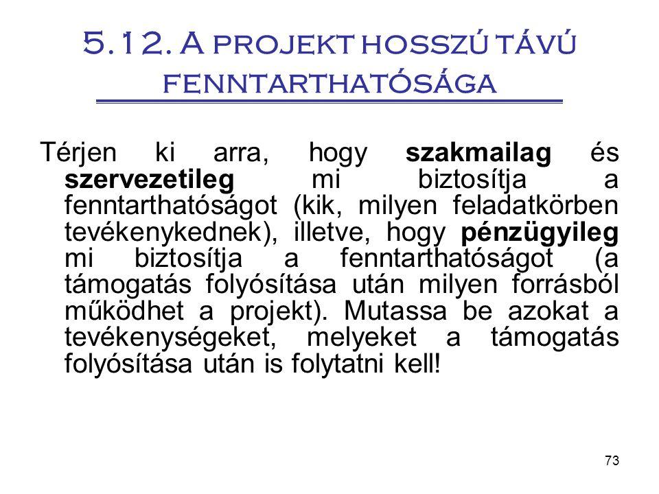 73 5.12. A projekt hosszú távú fenntarthatósága Térjen ki arra, hogy szakmailag és szervezetileg mi biztosítja a fenntarthatóságot (kik, milyen felada