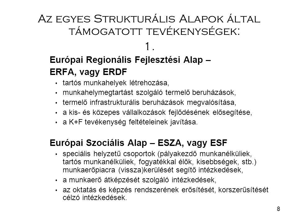 8 Az egyes Strukturális Alapok által támogatott tevékenységek: 1. Európai Regionális Fejlesztési Alap – ERFA, vagy ERDF tartós munkahelyek létrehozása