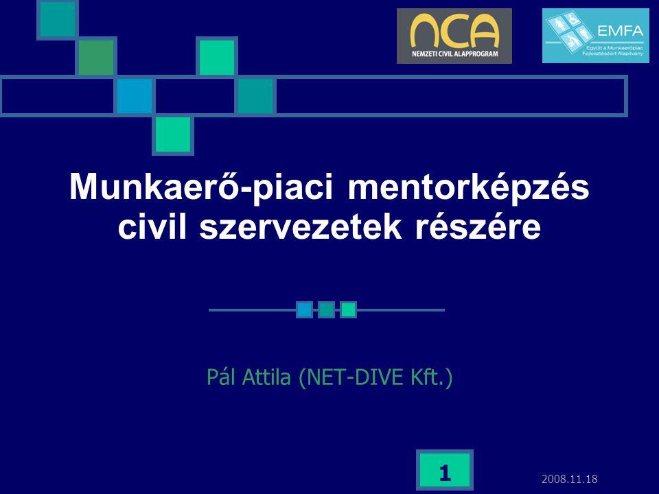 """2008.11.18 2 Képzés célja A projektben az EMFA """"munkaerő-piaci mentor szakmai tréninget szervez a Közép-Mo-i és az Észak-Mo-i régió civil szervezetek dolgozói számára, amelyek felvállalják a munkaerőpiacon hátrányos helyzetben lévő rétegek – nők, fogyatékkal élők, romák stb."""