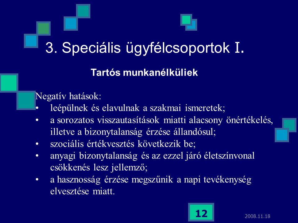 2008.11.18 12 3. Speciális ügyfélcsoportok I. Negatív hatások: leépülnek és elavulnak a szakmai ismeretek; a sorozatos visszautasítások miatti alacson