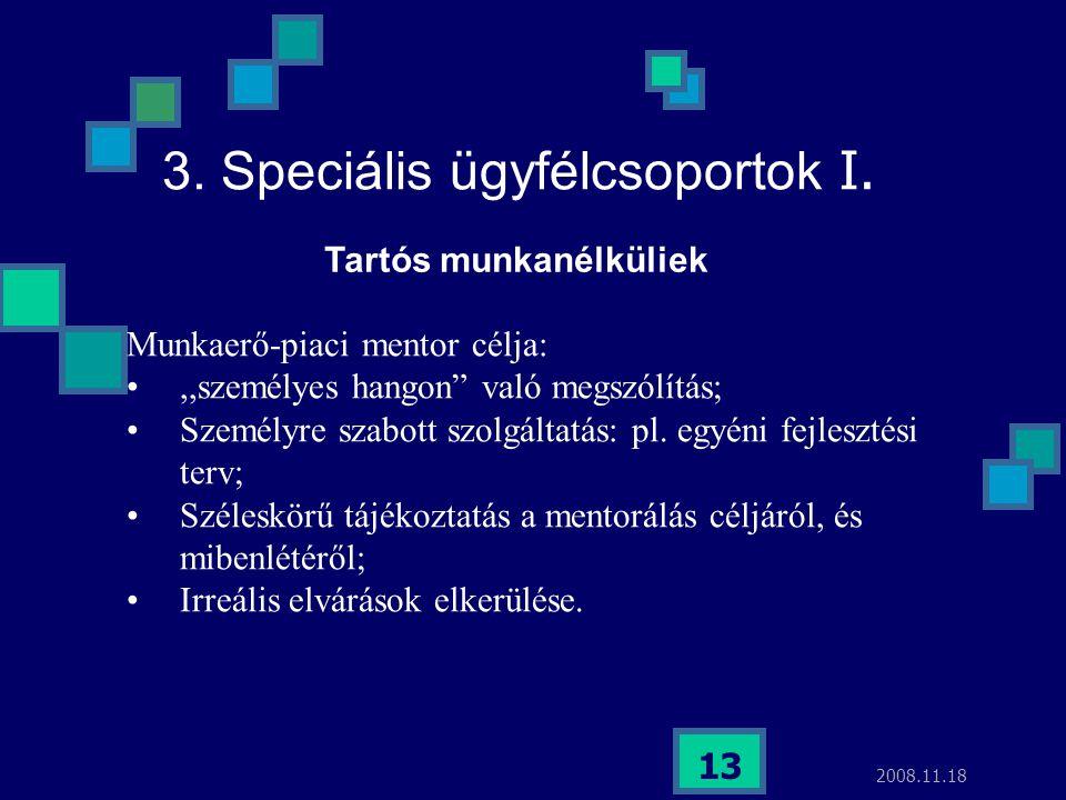 """2008.11.18 13 3. Speciális ügyfélcsoportok I. Munkaerő-piaci mentor célja:,,személyes hangon"""" való megszólítás; Személyre szabott szolgáltatás: pl. eg"""