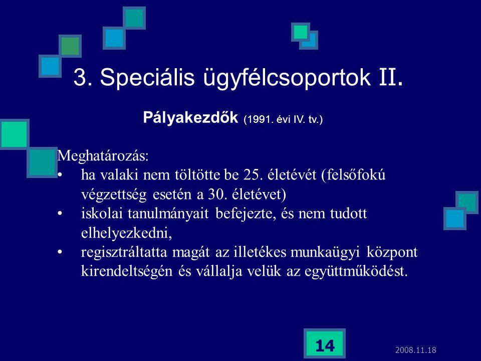 2008.11.18 14 3. Speciális ügyfélcsoportok II. Meghatározás: ha valaki nem töltötte be 25. életévét (felsőfokú végzettség esetén a 30. életévet) iskol