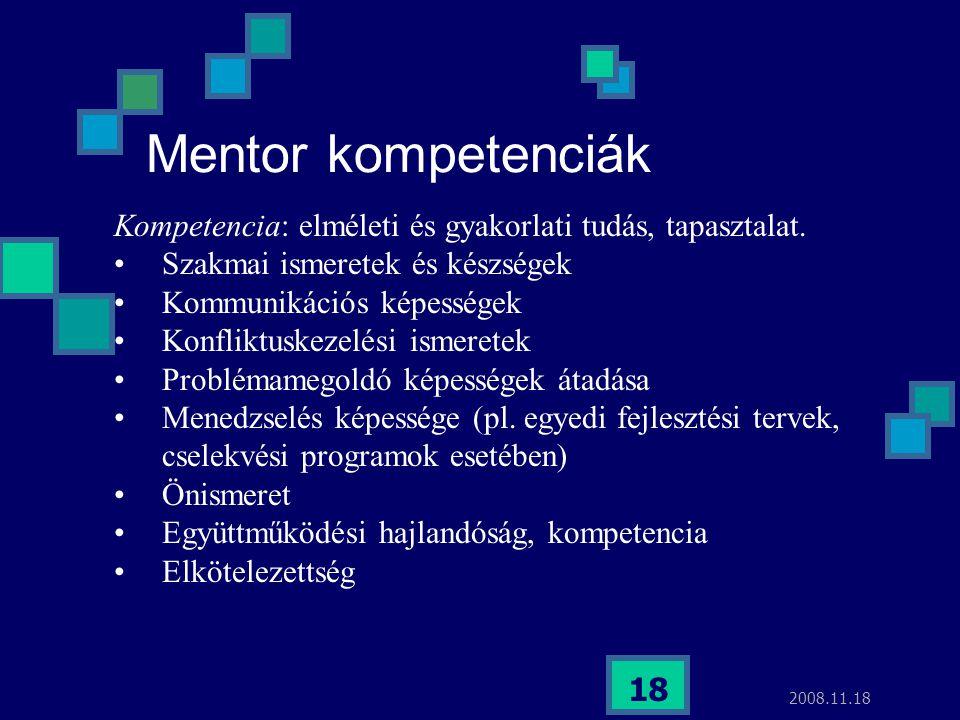 2008.11.18 18 Mentor kompetenciák Kompetencia: elméleti és gyakorlati tudás, tapasztalat. Szakmai ismeretek és készségek Kommunikációs képességek Konf
