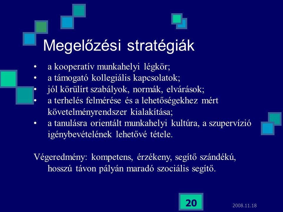 2008.11.18 20 Megelőzési stratégiák a kooperatív munkahelyi légkör; a támogató kollegiális kapcsolatok; jól körülírt szabályok, normák, elvárások; a t
