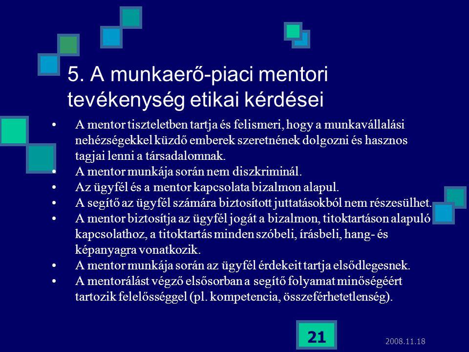 2008.11.18 21 5. A munkaerő-piaci mentori tevékenység etikai kérdései A mentor tiszteletben tartja és felismeri, hogy a munkavállalási nehézségekkel k