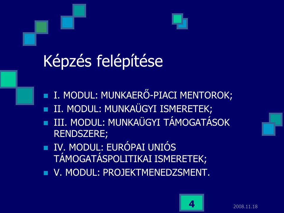 2008.11.18 4 Képzés felépítése I. MODUL: MUNKAERŐ-PIACI MENTOROK; II. MODUL: MUNKAÜGYI ISMERETEK; III. MODUL: MUNKAÜGYI TÁMOGATÁSOK RENDSZERE; IV. MOD
