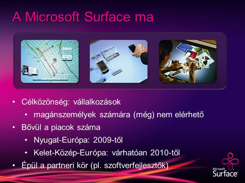 A Microsoft Surface ma Célközönség: vállalkozások magánszemélyek számára (még) nem elérhető Bővül a piacok száma Nyugat-Európa: 2009-től Kelet-Közép-Európa: várhatóan 2010-től Épül a partneri kör (pl.
