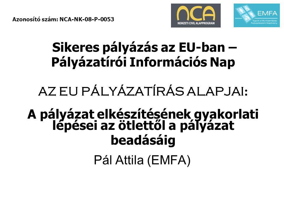 Sikeres pályázás az EU-ban – Pályázatírói Információs Nap AZ EU PÁLYÁZATÍRÁS ALAPJAI : A pályázat elkészítésének gyakorlati lépései az ötlettől a pály
