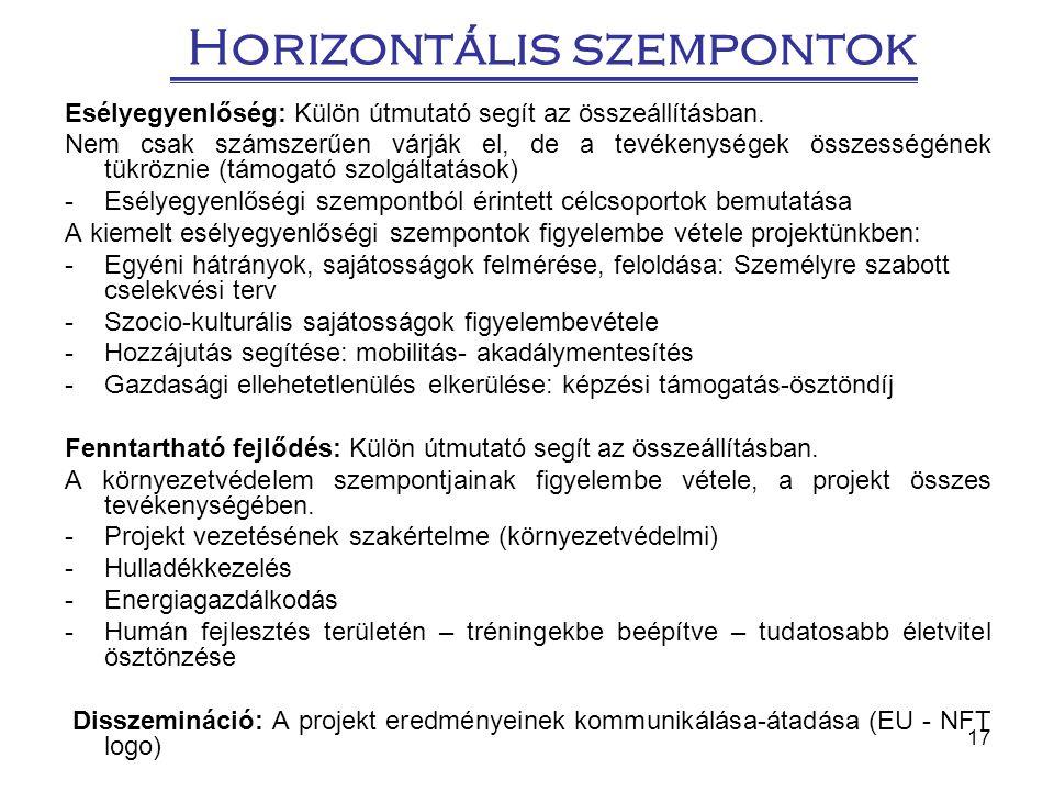 17 Horizontális szempontok Esélyegyenlőség: Külön útmutató segít az összeállításban. Nem csak számszerűen várják el, de a tevékenységek összességének