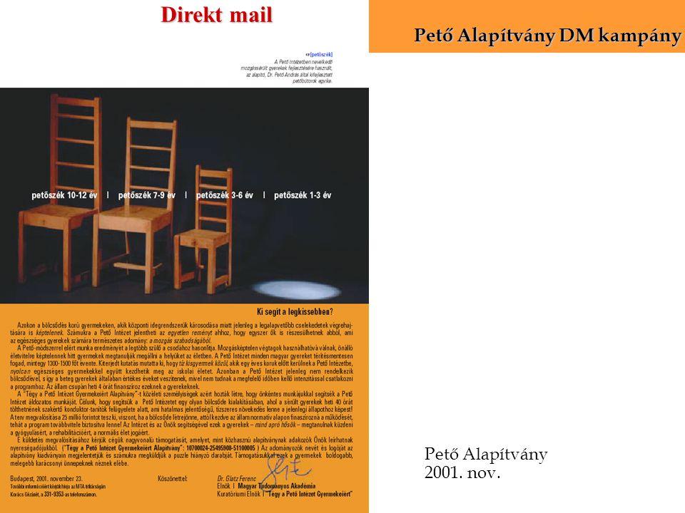Pető Alapítvány 2001. nov. Pető Alapítvány DM kampány Direkt mail
