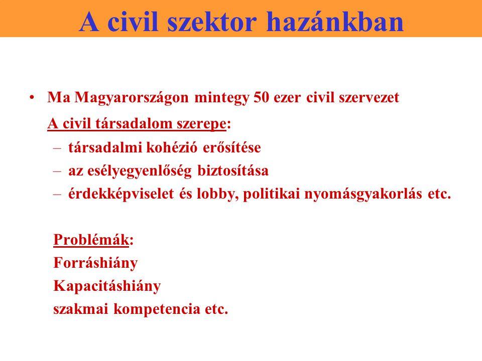 A civil szektor hazánkban Ma Magyarországon mintegy 50 ezer civil szervezet A civil társadalom szerepe: –társadalmi kohézió erősítése –az esélyegyenlőség biztosítása –érdekképviselet és lobby, politikai nyomásgyakorlás etc.