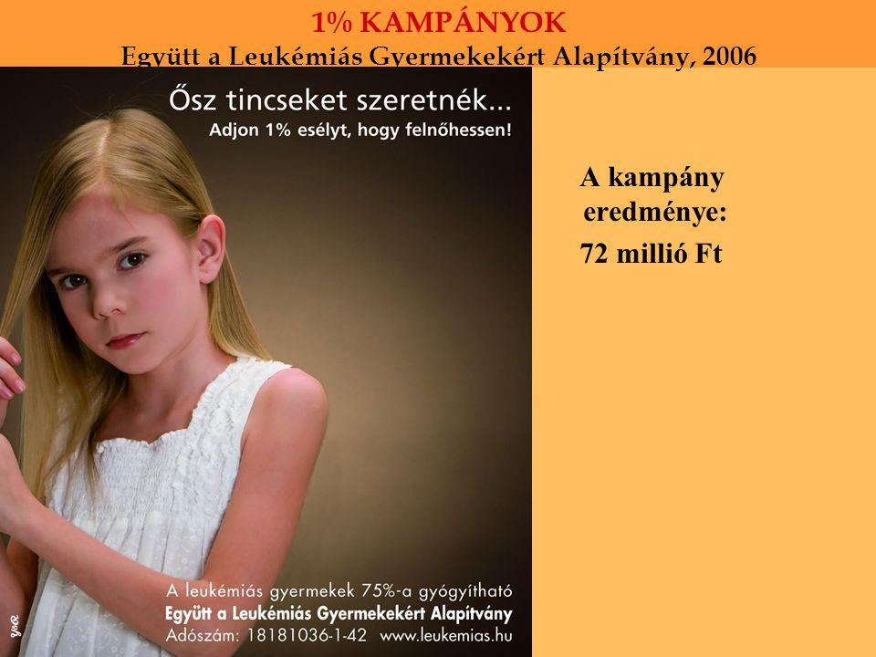 1% KAMPÁNYOK Együtt a Leukémiás Gyermekekért Alapítvány, 2006 A kampány eredménye: 72 millió Ft