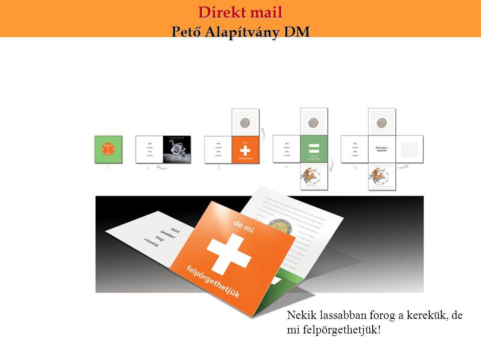 Direkt mail Pető Alapítvány DM Nekik lassabban forog a kerekük, de mi felpörgethetjük!