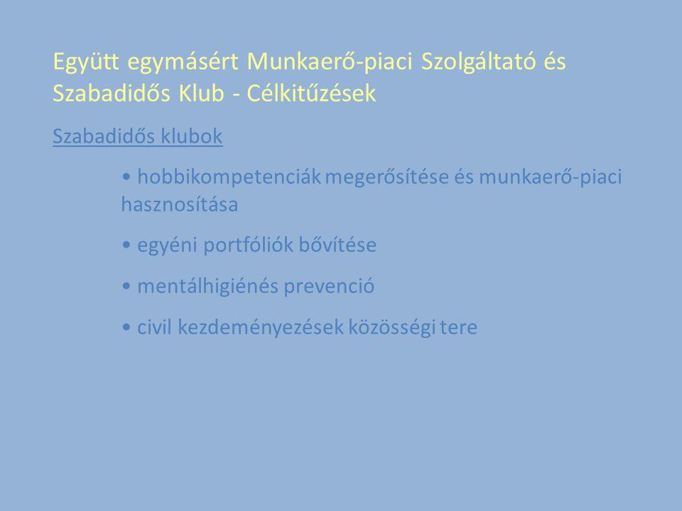 Együtt egymásért Munkaerő-piaci Szolgáltató és Szabadidős Klub - Célkitűzések Szabadidős klubok hobbikompetenciák megerősítése és munkaerő-piaci hasznosítása egyéni portfóliók bővítése mentálhigiénés prevenció civil kezdeményezések közösségi tere