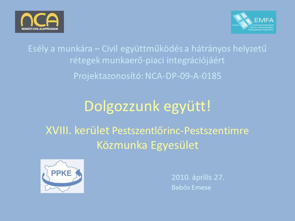 Esély a munkára – Civil együttműködés a hátrányos helyzetű rétegek munkaerő-piaci integrációjáért Projektazonosító: NCA-DP-09-A-0185 Dolgozzunk együtt