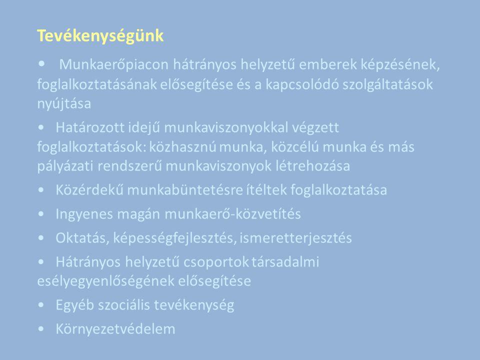 Tevékenységünk Munkaerőpiacon hátrányos helyzetű emberek képzésének, foglalkoztatásának elősegítése és a kapcsolódó szolgáltatások nyújtása Határozott idejű munkaviszonyokkal végzett foglalkoztatások: közhasznú munka, közcélú munka és más pályázati rendszerű munkaviszonyok létrehozása Közérdekű munkabüntetésre ítéltek foglalkoztatása Ingyenes magán munkaerő-közvetítés Oktatás, képességfejlesztés, ismeretterjesztés Hátrányos helyzetű csoportok társadalmi esélyegyenlőségének elősegítése Egyéb szociális tevékenység Környezetvédelem