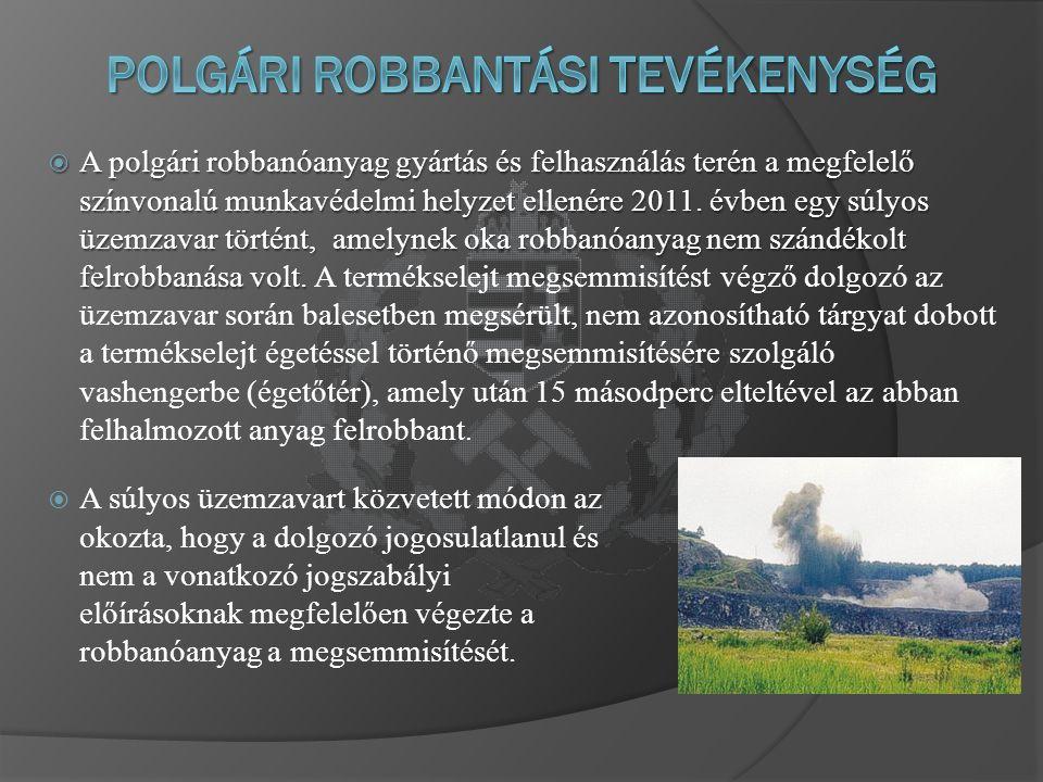  A polgári robbanóanyag gyártás és felhasználás terén a megfelelő színvonalú munkavédelmi helyzet ellenére 2011.