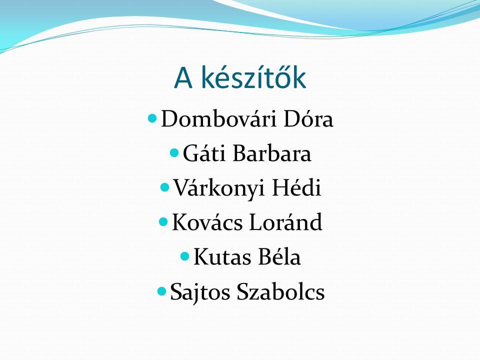 A készítők Dombovári Dóra Gáti Barbara Várkonyi Hédi Kovács Loránd Kutas Béla Sajtos Szabolcs