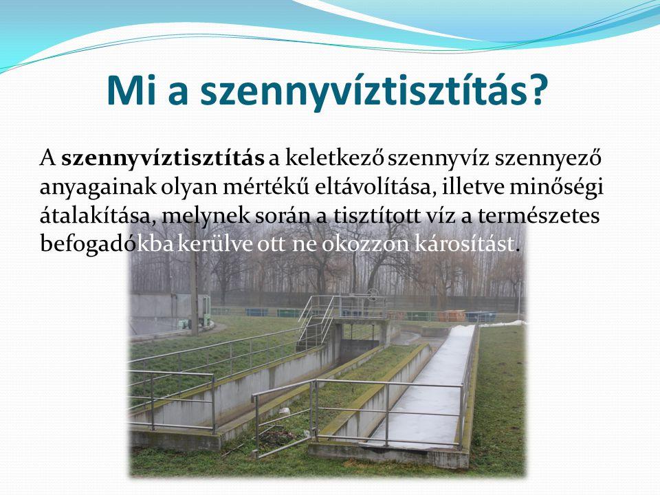 Mi a szennyvíztisztítás? A szennyvíztisztítás a keletkező szennyvíz szennyező anyagainak olyan mértékű eltávolítása, illetve minőségi átalakítása, mel