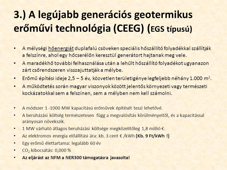 3.) A legújabb generációs geotermikus erőművi technológia (CEEG) ( EGS típusú) A mélységi hőenergiát duplafalú csöveken speciális hőszállító folyadékk