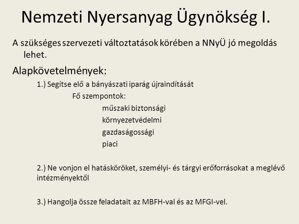 Nemzeti Nyersanyag Ügynökség I. A szükséges szervezeti változtatások körében a NNyÜ jó megoldás lehet. Alapkövetelmények: 1.) Segítse elő a bányászati