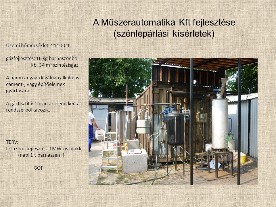 Üzemi hőmérséklet: ~1100 o C gázfejlesztés: 16 kg barnaszénből kb. 34 m 3 szintézisgáz A hamu anyaga kiválóan alkalmas cement-, vagy építőelemek gyárt