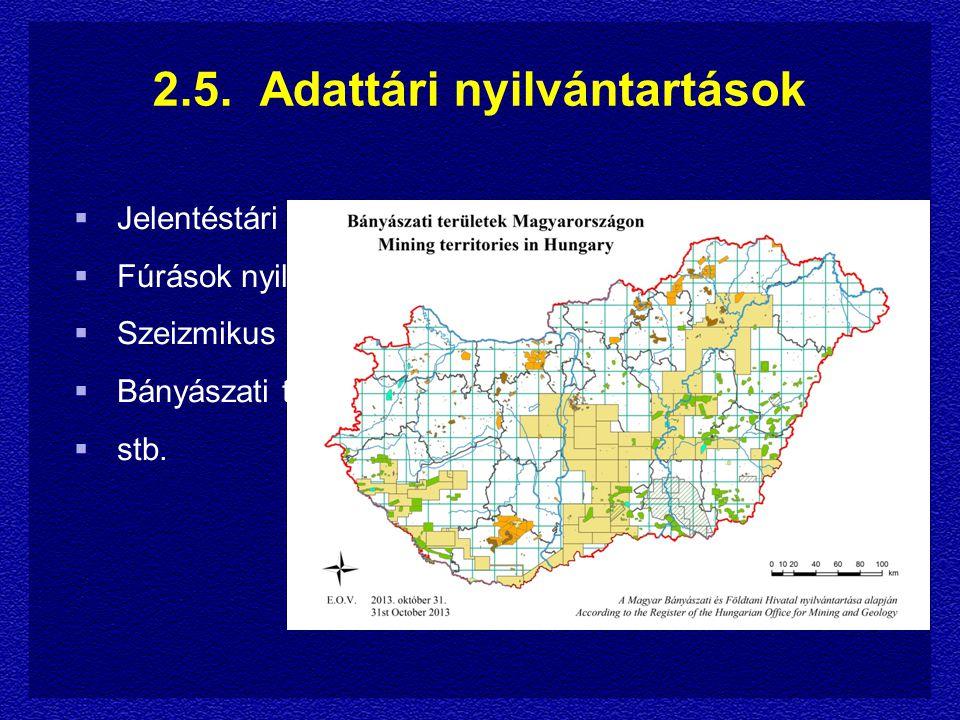  Jelentéstári nyilvántartás  Fúrások nyilvántartása  Szeizmikus mérések nyilvántartása  Bányászati területek nyilvántartása  stb.