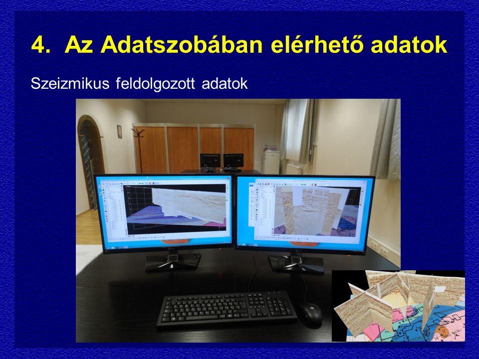 4. Az Adatszobában elérhető adatok Szeizmikus feldolgozott adatok