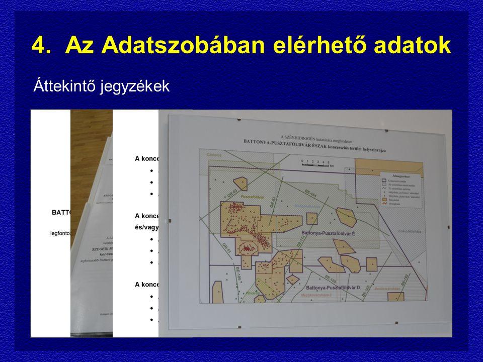 4. Az Adatszobában elérhető adatok Áttekintő jegyzékek