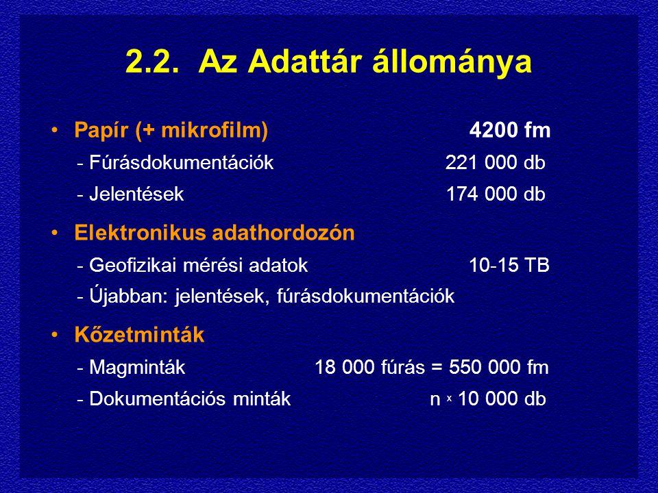 2.2. Az Adattár állománya Papír (+ mikrofilm) 4200 fm - Fúrásdokumentációk221 000 db - Jelentések174 000 db Elektronikus adathordozón - Geofizikai mér
