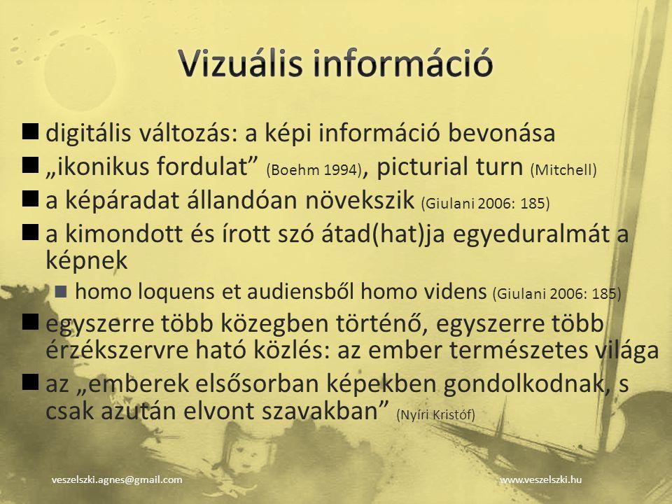 """veszelszki.agnes@gmail.comwww.veszelszki.hu digitális változás: a képi információ bevonása """"ikonikus fordulat"""" (Boehm 1994), picturial turn (Mitchell)"""
