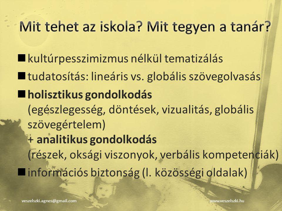 veszelszki.agnes@gmail.comwww.veszelszki.hu kultúrpesszimizmus nélkül tematizálás tudatosítás: lineáris vs. globális szövegolvasás holisztikus gondolk