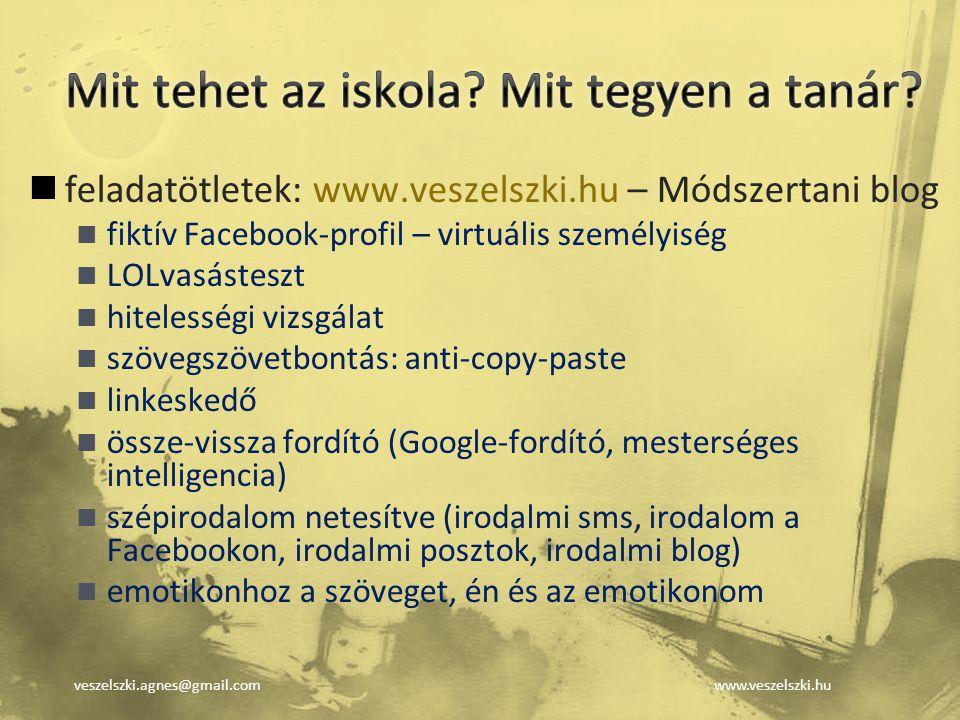veszelszki.agnes@gmail.comwww.veszelszki.hu feladatötletek: www.veszelszki.hu – Módszertani blog fiktív Facebook-profil – virtuális személyiség LOLvas
