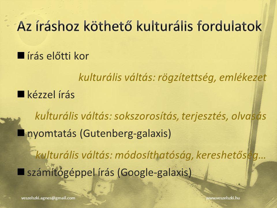 veszelszki.agnes@gmail.comwww.veszelszki.hu írás előtti kor kulturális váltás: rögzítettség, emlékezet kézzel írás kulturális váltás: sokszorosítás, t