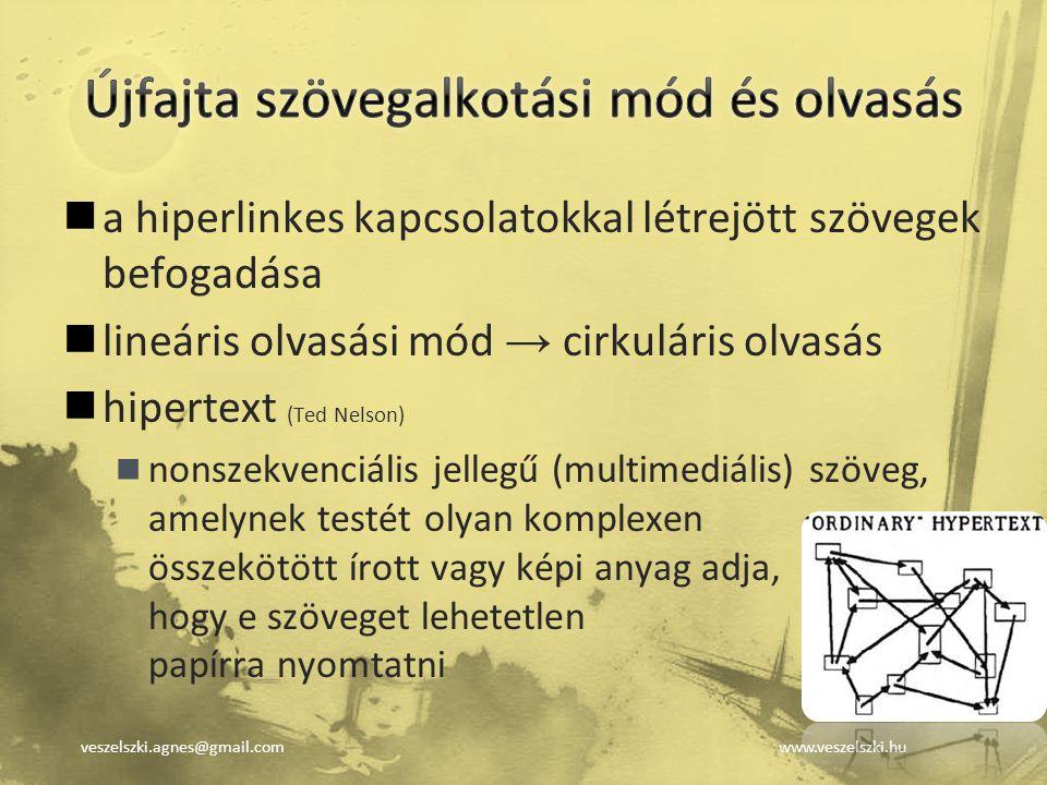 veszelszki.agnes@gmail.comwww.veszelszki.hu a hiperlinkes kapcsolatokkal létrejött szövegek befogadása lineáris olvasási mód → cirkuláris olvasás hipe