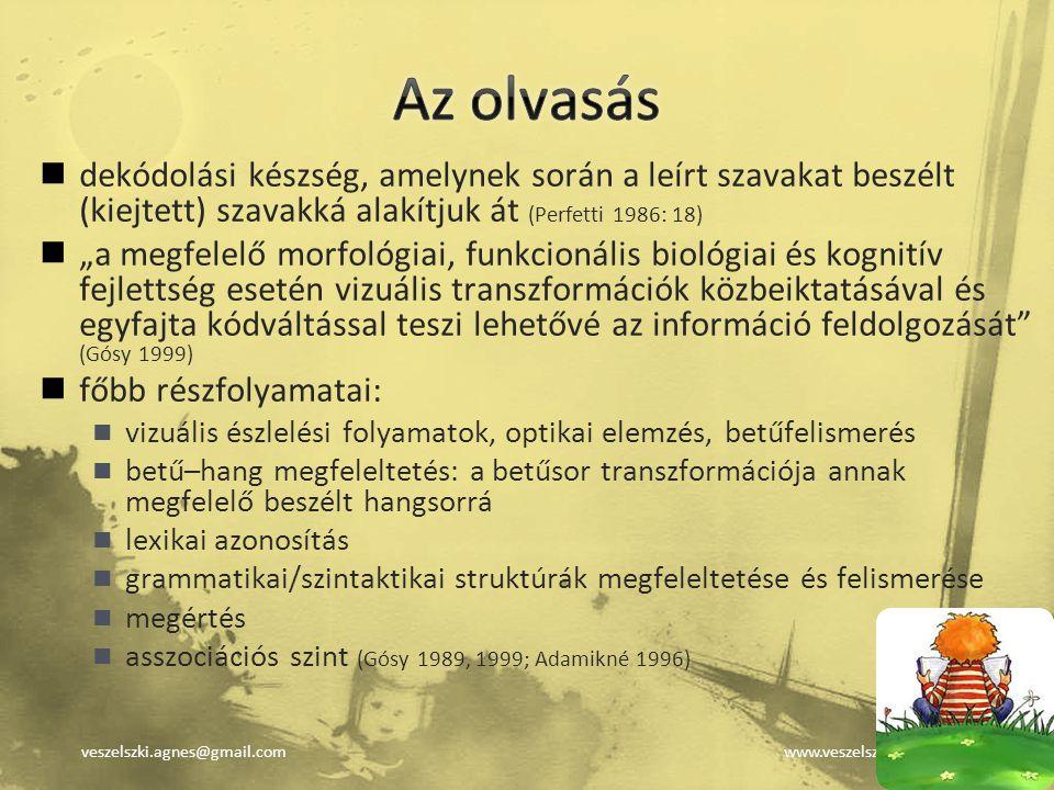 veszelszki.agnes@gmail.comwww.veszelszki.hu dekódolási készség, amelynek során a leírt szavakat beszélt (kiejtett) szavakká alakítjuk át (Perfetti 198