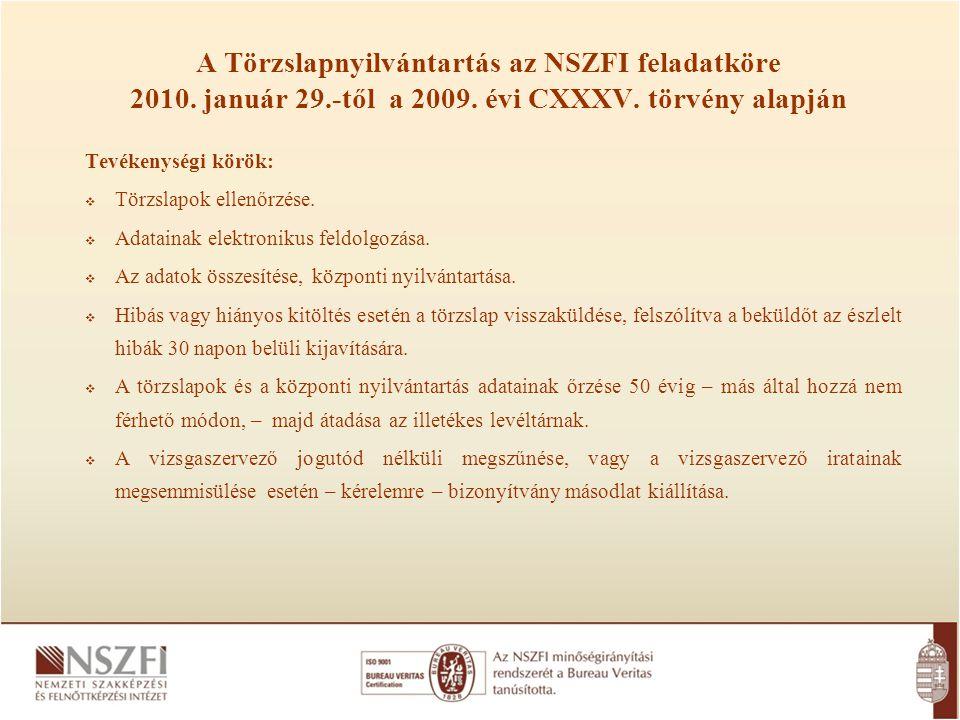 A Törzslapnyilvántartás az NSZFI feladatköre 2010. január 29.-től a 2009. évi CXXXV. törvény alapján Tevékenységi körök:  Törzslapok ellenőrzése.  A