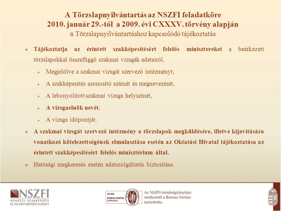 A Törzslapnyilvántartás az NSZFI feladatköre 2010. január 29.-től a 2009. évi CXXXV. törvény alapján a Törzslapnyilvántartáshoz kapcsolódó tájékoztatá
