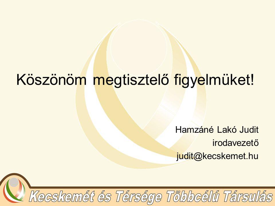 Köszönöm megtisztelő figyelmüket! Hamzáné Lakó Judit irodavezető judit@kecskemet.hu