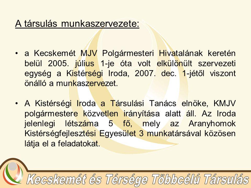 A társulás munkaszervezete: a Kecskemét MJV Polgármesteri Hivatalának keretén belül 2005.