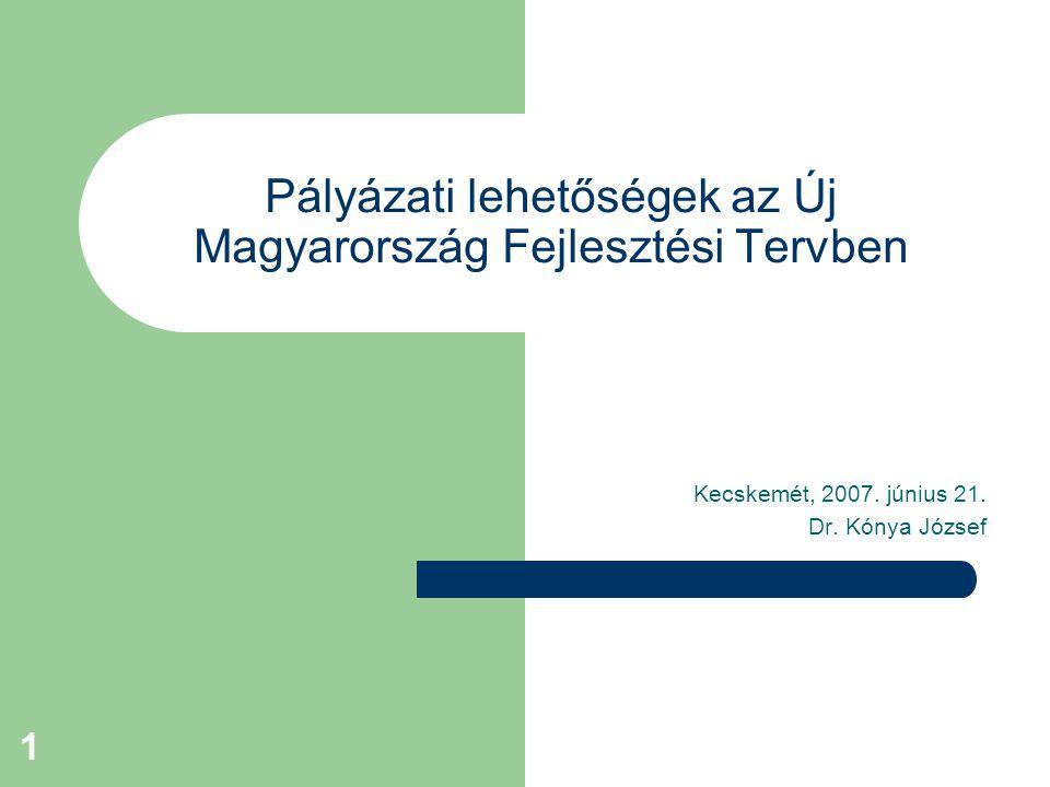1 Pályázati lehetőségek az Új Magyarország Fejlesztési Tervben Kecskemét, 2007. június 21. Dr. Kónya József