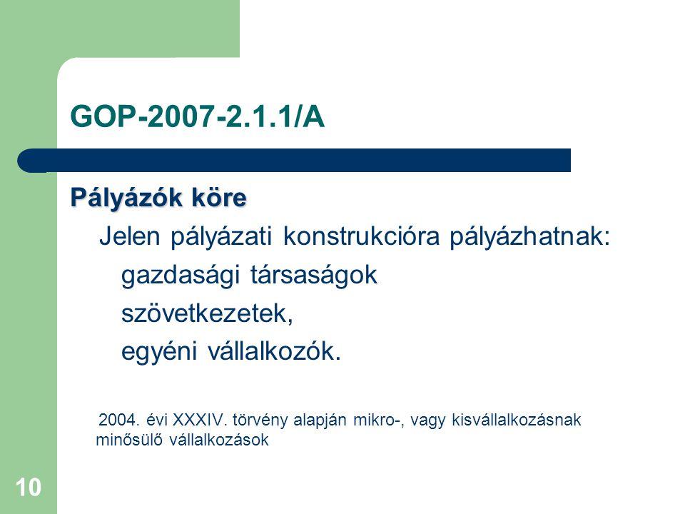 10 GOP-2007-2.1.1/A Pályázók köre Jelen pályázati konstrukcióra pályázhatnak: gazdasági társaságok szövetkezetek, egyéni vállalkozók.