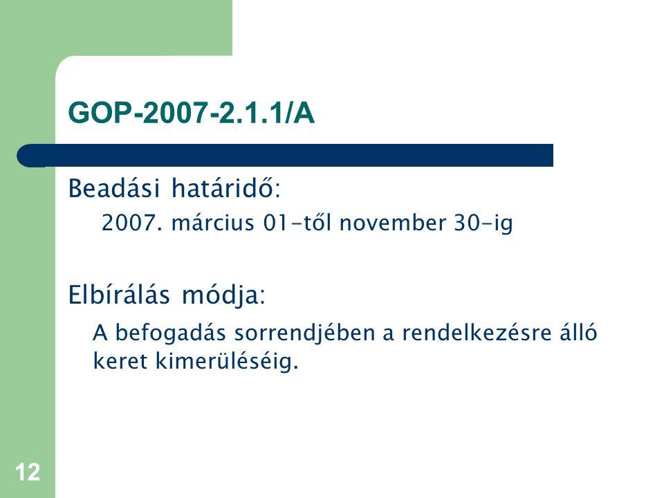 12 GOP-2007-2.1.1/A Beadási határidő: 2007. március 01-től november 30-ig Elbírálás módja: A befogadás sorrendjében a rendelkezésre álló keret kimerül