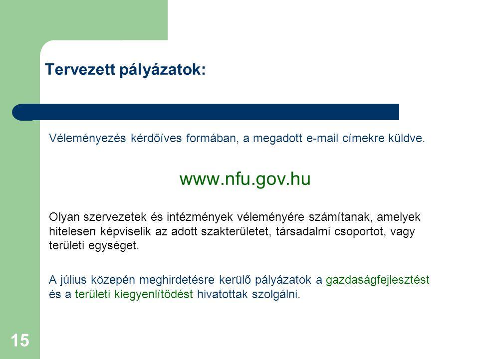 15 Véleményezés kérdőíves formában, a megadott e-mail címekre küldve. www.nfu.gov.hu Olyan szervezetek és intézmények véleményére számítanak, amelyek