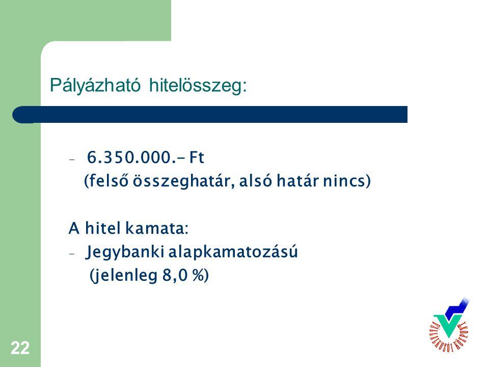 22 Pályázható hitelösszeg: - 6.350.000.- Ft (felső összeghatár, alsó határ nincs) A hitel kamata: - Jegybanki alapkamatozású (jelenleg 8,0 %)