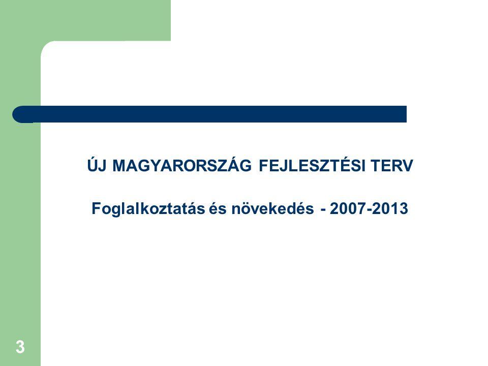 3 ÚJ MAGYARORSZÁG FEJLESZTÉSI TERV Foglalkoztatás és növekedés - 2007-2013