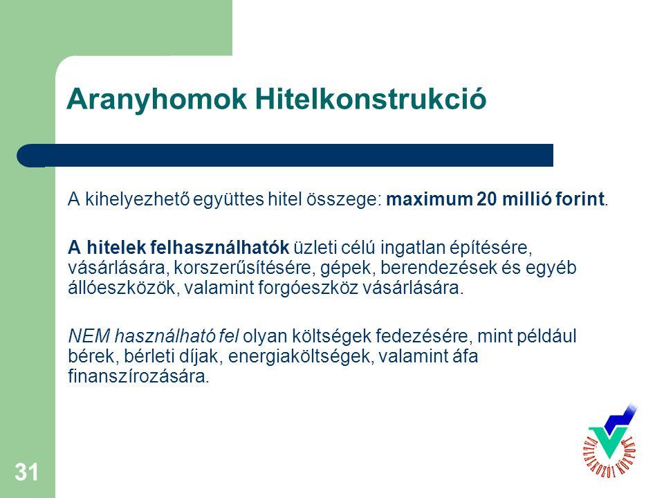 31 Aranyhomok Hitelkonstrukció A kihelyezhető együttes hitel összege: maximum 20 millió forint. A hitelek felhasználhatók üzleti célú ingatlan építésé